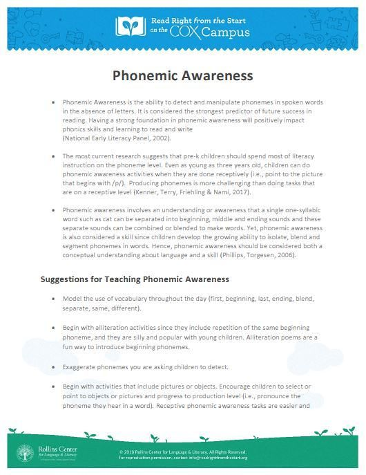 phonological awareness from research to practice pdf