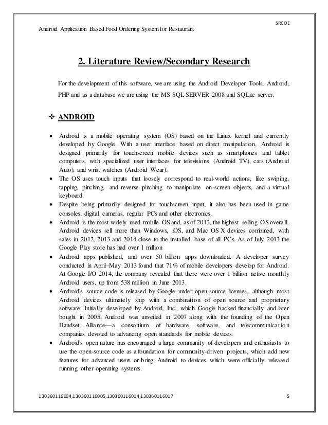 literature review for android mobile application