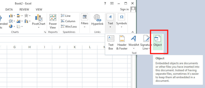 how to insert pdf file to excel