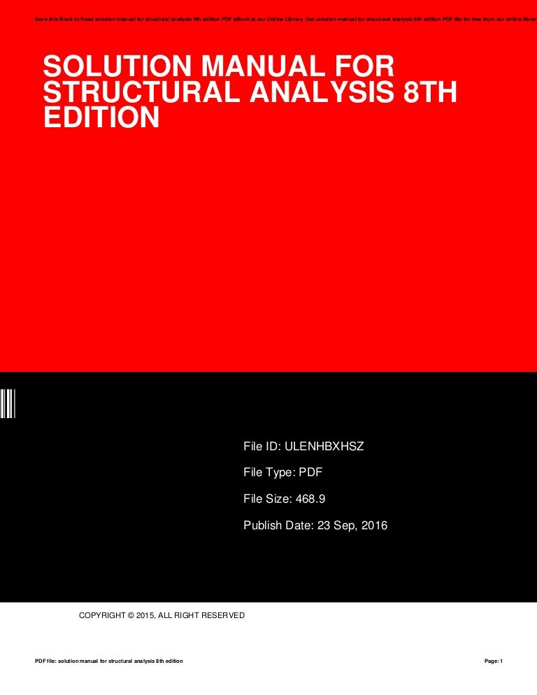 structural analysis 8th edition solution manual