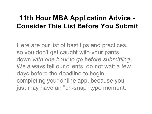 when to submit mba application